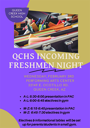 QCHS Incoming Freshmen Night flyer