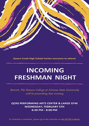 Incoming Freshmen Night flyer
