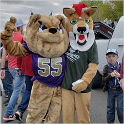 Sully the Sabercat with QC Bulldog at the QC Holiday Parade