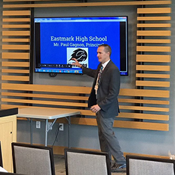 Principal Gagnon speaking about Eastmark High School
