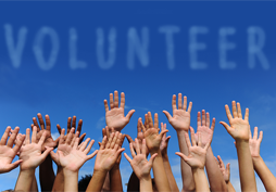 the word Volunteer with raised hands