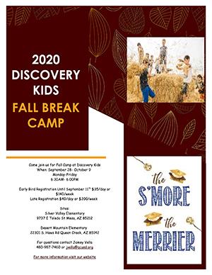 2020 Discovery Kids Fall Break Camp