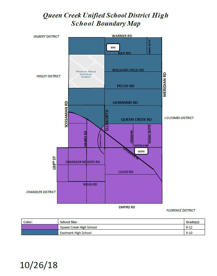 Queen Creek Unified School District High School Boundary Map