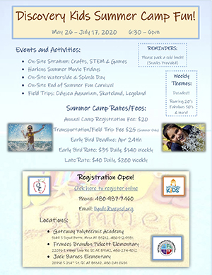 Discovery Kids Summer Camp 2020 Camp Flyer