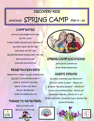 Discovery Kids Spring 2020 Camp Flyer
