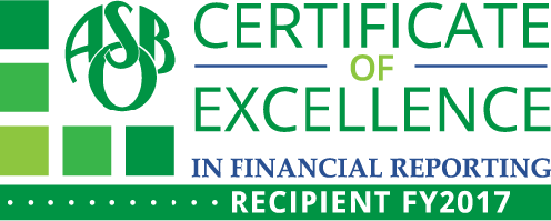 ASBO Certificate of Excellence in Financial Reporting Recipient FY2017