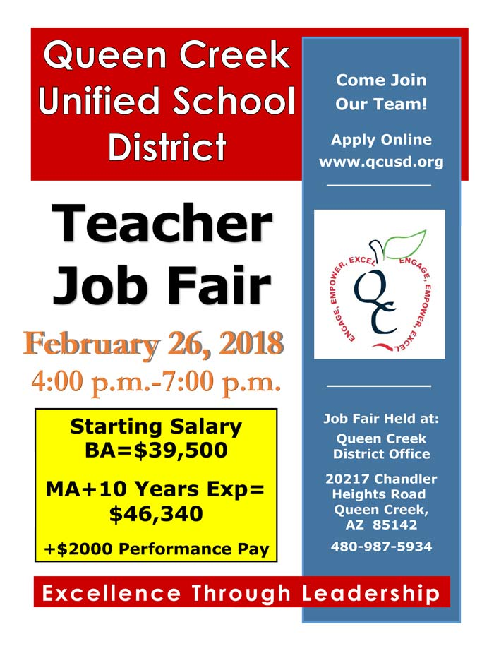 QCUSD Job Fair Flyer. Feb. 26, 2018. 4-7p.m. Starting Salary for BA $39,500 and MA+10 years Exp is $46,340 plus $2000 performance pay