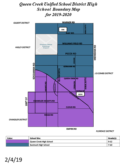 Queen Creek Unified School District High School Boundary Map for 2019-2020