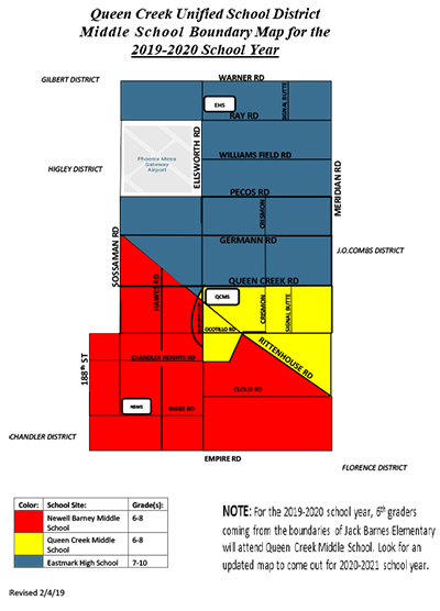 Queen Creek Unified School District Middle School  Boundary Map for the 2019-2020 School Year