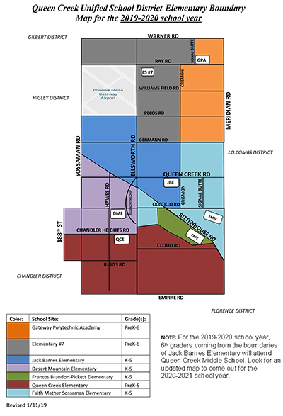 Queen Creek Unified School District Elementary Boundary Map