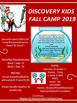 Discovery Kids Fall Camp 2019