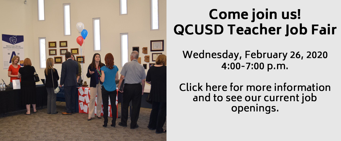Come join us!  QCUSD Teacher Job Fair  Wednesday, February 26, 2020  4:00-7:00 p.m.  Click here for more information and to see our current job openings.
