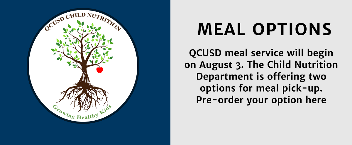 Queen Creek Unified School District meal service will begin on August 3. The Child Nutrition Department is offering two options for meal pick-up. Pre-order your option here