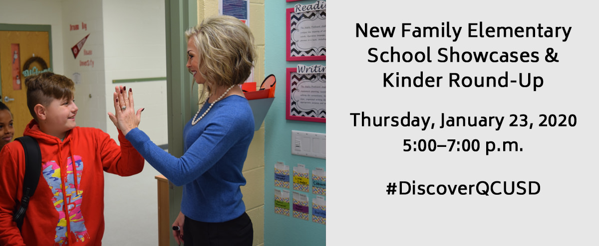 Teacher giving a student a high five. New Family Elementary School Showcases & Kinder Round-Up Thursday, January 23, 2020. 5:00–7:00 p.m.