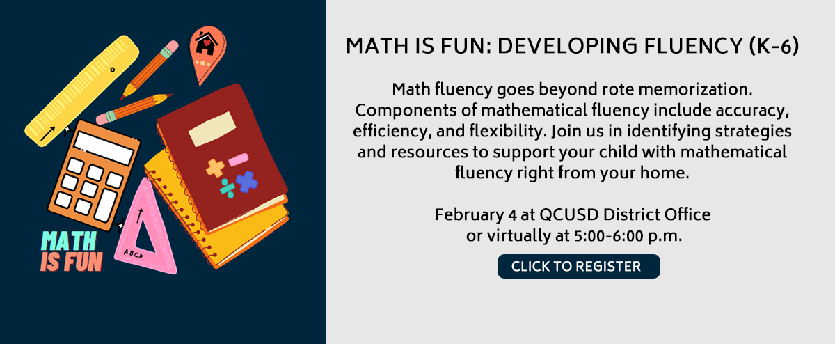 MATH IS FUN: DEVELOPING FLUENCY (K-6) Math fluency goes beyond rote memorization. Components of mathematical fluency include accuracy, efficiency, and flexibility. Join us in identifying strategies and resources to support your child with mathematica