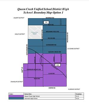 Queen Creek Unified School District High School Boundary Map Option 1