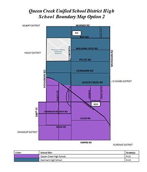 Queen Creek Unified School District High School Boundary Map Option 2