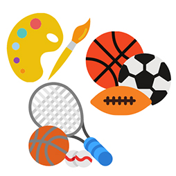 cartoon drawing of sports equipment