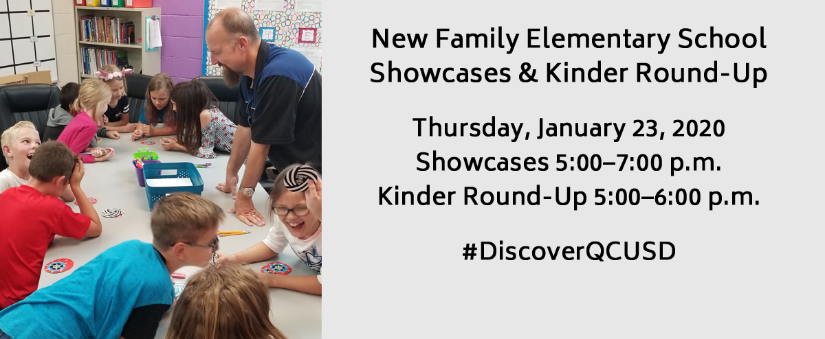Teachers working with students. New Family Elementary School Showcases & Kinder Round-Up. Thursday, January 23, 2020 Showcases 5:00–7:00 p.m. Kinder Round-Up 5:00–6:00 p.m.