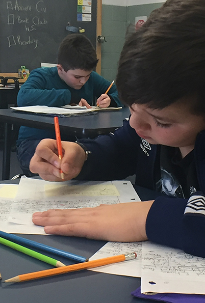 Student working on schoolwork