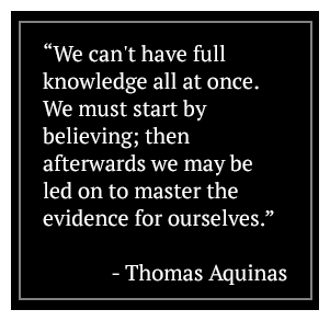 We can't have full knowledge all at once. We must start by believing; then afterwards we may be led on to master the evidence for ourselves. - Thomas Aquinas