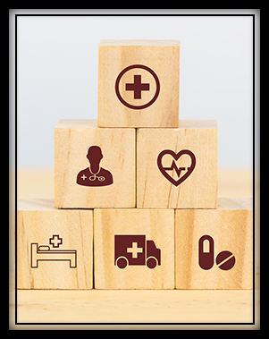 Health and safety symbols on wooden blocks