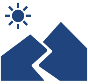 mountains with sunset icon