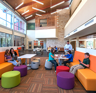 Inside view of modern, colorful classrooms