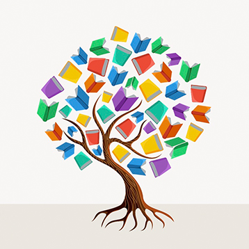 Colorful tree with books education concept