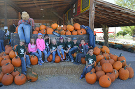 Kindergarteners and First Graders at Pumpkin Patch