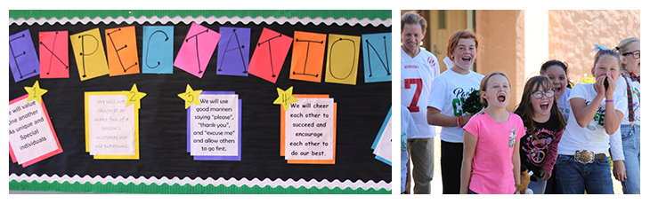 Expectations bulletin board and photo of the elementary yell contest