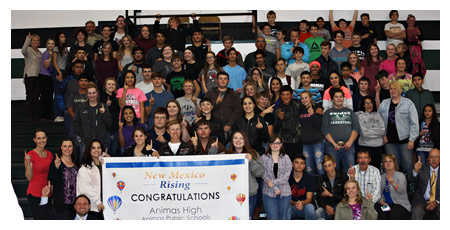 Animas Grades 7-12 received an A Banner from the Secretary of Education for receiving an A for consecutive years. Great Job staff and students.