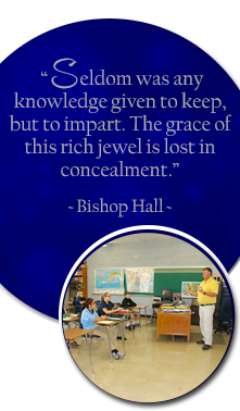 Seldom was to any knowledge given to keep, but to impart. The grace of this rich jewel is lost in concealment. Bishop Hall. Male teacher speaks to student in a classroom.