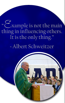 Example is not the main thing in influencing others. It is the only thing. Albert Schweitzer. Man speaks to students behind a podium.