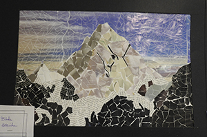 student art entry of a paper mosaic mountain
