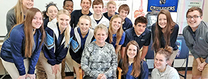 Mrs. O'Connor and students pose together