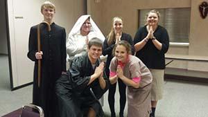 Students dressed as saints